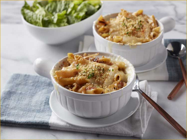 French Onion Pasta Bake with Gremolata Bread Crumbs