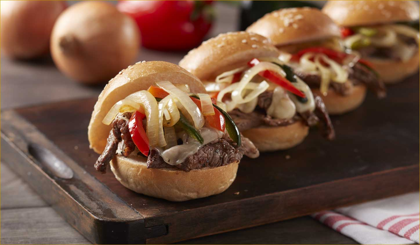 Bistro Burgers with Garlic Aioli, Oven-Carmelized Onions & Blue Cheese